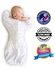 Amazing Baby Transitional Swaddle Sack with Arms Up Mitten Cuffs, Tiny Bows, Pink, Small, 0-3 Months (Parents' Picks Award Winner)