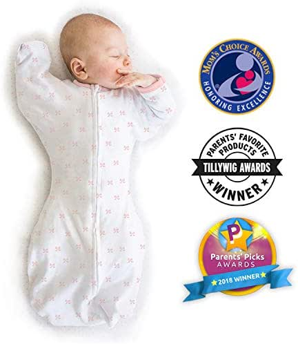 Amazing Baby Transitional Swaddle Sack with Arms Up Mitten Cuffs, Tiny Bows, Pink, Medium, 3-6 Months (Parents' Picks Award Winner)