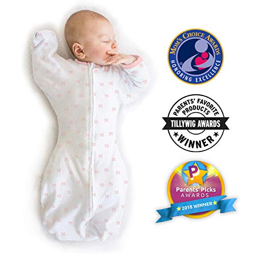 Amazing Baby Transitional Swaddle Sack with Arms Up Mitten Cuffs, Tiny Bows, Pink, Medium, 3-6 Months (Parents Picks Award Winner)