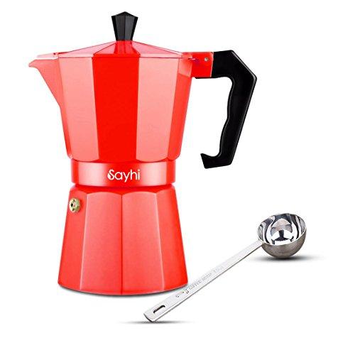Espresso Maker, HOOHI 240 ML Aluminum Moka Express Stovetop Espresso Maker Pot Coffee Machine + 1 Coffee Scoop, 4 Cup (Red) (Aluminum Espresso Pot)