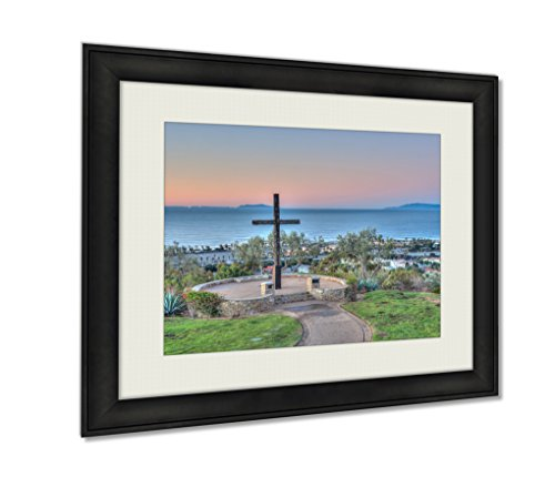 Ashley Framed Prints, Christian Monument Against Ocean Backdrop Wall Art Decor Giclee Photo Print In Black Wood Frame, Soft White Matte, Ready to hang, 24x30 Art by Ashley Framed Prints