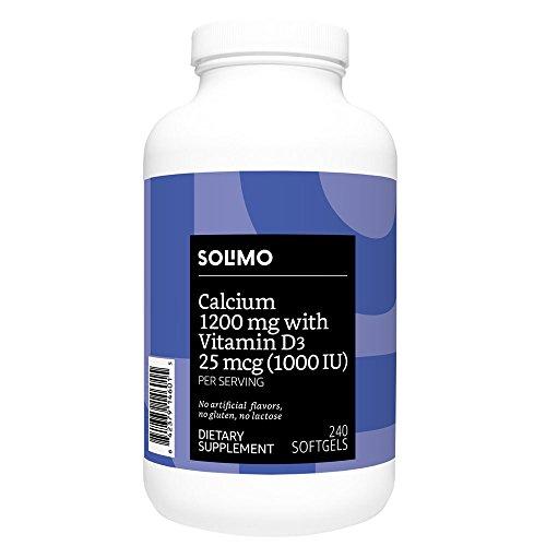 Amazon Brand - Solimo Calcium 1200 mg with Vitamin D3 25 mcg (1000 IU) per Serving (2 Softgels), 240 Softgels