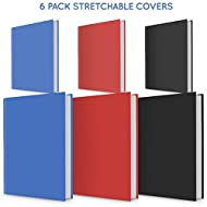 6 PACK Book Cover Stretchable and Great value text book covers in 3 colours and medium and large size book sox style cover for hardcover textbooks UNIVERSAL SIZE BOOK COVER PROTECTIVE MATERIAL