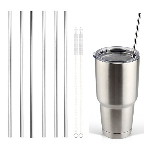 Accmor 18/8 Stainless Steel Straws, FDA-approved Reusable Metal Drinking Straight Straws Fits 20 & 30 Oz Yeti Tumbler Rambler Cups (Length:10.5 in, OD:0.24 in, Set of 6 & 2 Cleaning Brushes)