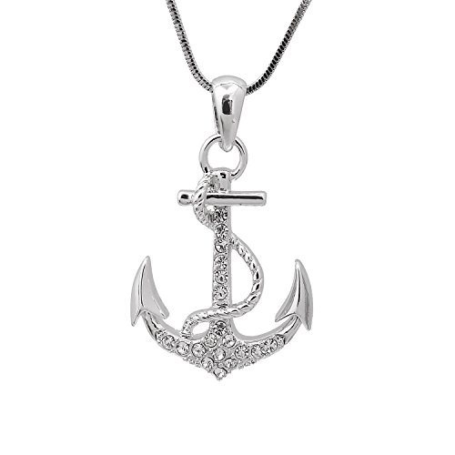 Spinningdaisy Silver Plated Crystal Sea Anchor with Rope Necklace (Anchor Crystal Necklace)