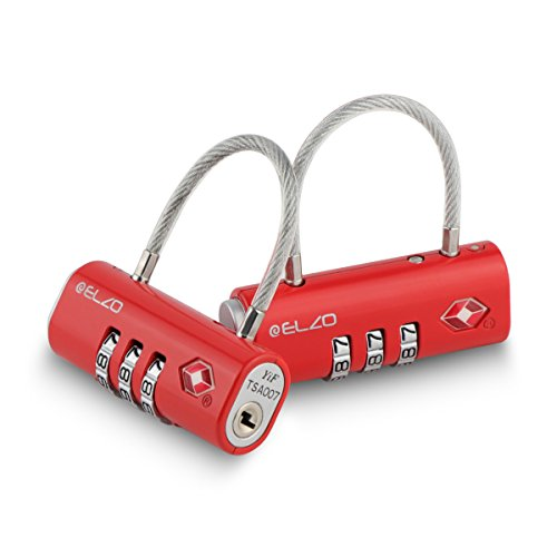 Airport Security Luggage - Elzo TSA Approved Luggage Lock, Easy Read Dials and 3 Digits Combination - 2 Pack