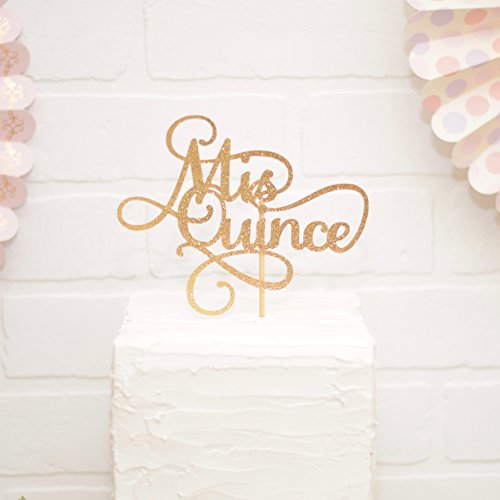 Gold Mis Quince Cake Topper 15th Birthday ()