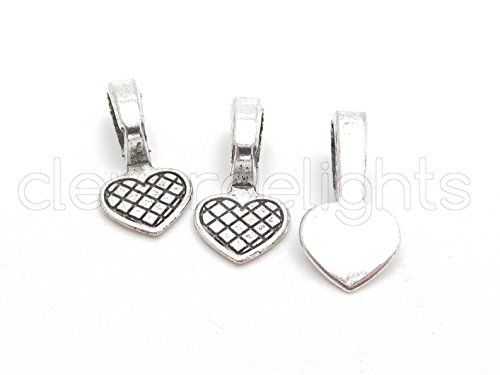 Heart Bail Pendant (25 CleverDelights Heart Bails - 22x11mm - Antique Silver Color - Large Glue On Bails - Scrabble Glass Pendants Craft Heart Bails - 7/8 x 7/16 inch 22mm x 11mm)