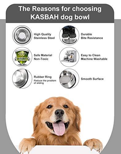 LEACOOLKEY Edelstahl Hundenäpfe Futter 2 Stücke - und Wasserschale Ungiftig 2er Pack Hundenäpfe mit Gummibasis für kleine / mittlere / große Hunde, Katzen