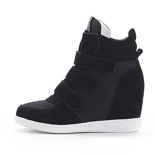 Rismart Dames Klassiek Midden Verborgen Sleehak Suède Bovenste Hoge Top Haak & Lus Mode Sneakers Zwart 4791 Us6.5