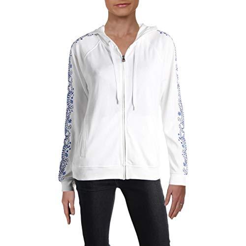 LAUREN RALPH LAUREN Womens Embroidered Zip-Front Hoodie White XL