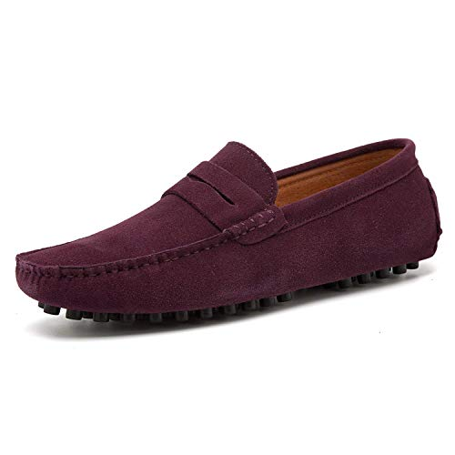 HAPPYSTORE Mens Driving Shoes Penny Loafers Slip On Navy Blue for Men Dress Boat Shoes Suede Leather Slippers