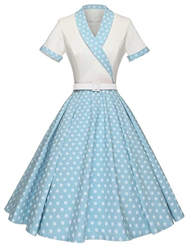 GownTown Women Splicing Swing Dress Party Picnic Cocktail Dress,Ivory&light - Womens Vintage Light