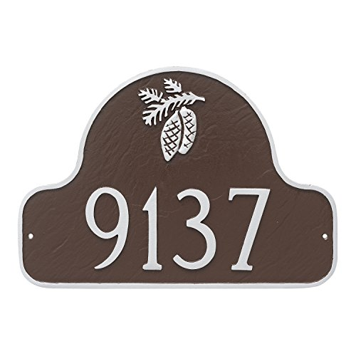 Pinecone Address Plaque - Montague Metal PCS-0083S1-W-WS Pinecone Arch Address Sign Plaque, 11