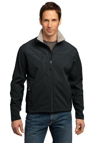 Port Authority Men's Tall Glacier Soft Shell Jacket 3XLT Black/Chrome (Shell Soft Glacier Jacket)