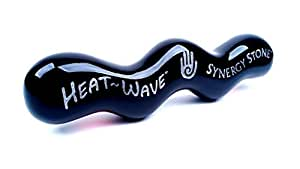 (Onyx) Heat-Wave Synergy Stone - Pro Hot Stone Massage Tool - Gets Hot fast - Radiant Deep Heat for Muscle Tension Relief - Ultra-Smooth Glides Over Clothes or Skin - Free Online Videos
