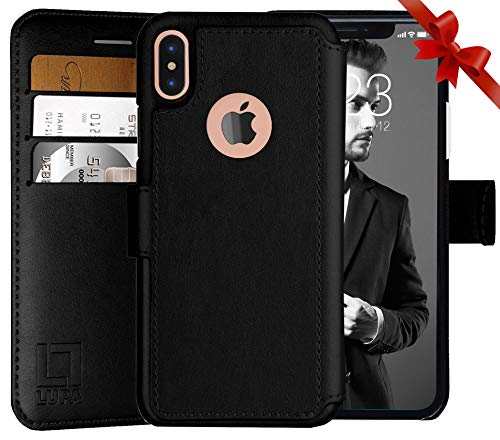 LUPA iPhone Xs Wallet case, iPhone X Wallet Case, Durable and Slim, Lightweight with Classic Design & Ultra-Strong Magnetic Closure, Faux Leather, Black, for Apple iPhone Xs/X