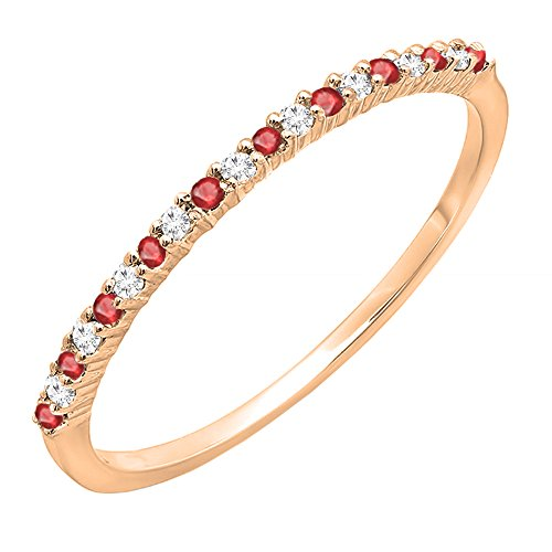 10K Rose Gold Round Ruby & White Diamond Ladies Anniversary Wedding Stackable Ring (Size 10)