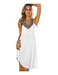 Mupoduvos Womens Beach Dress Summer Sleeveless Ruched Loose Sundress