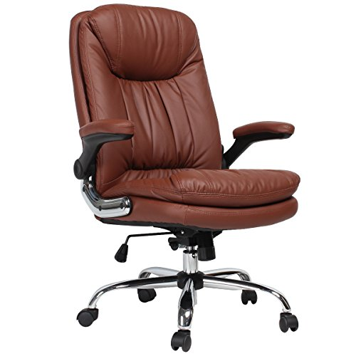 YAMASORO Ergonomic High Back Executive Office Chair Brown,Leather Office Desk Chairs, Computer Gaming Chair with Flip up Arm Rests Big Tall for Heavy People 300 lb Weight Capacity