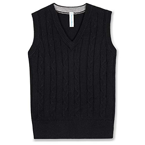 Benito & Benita Boys' Sweater Vest School V-Neck Uniforms Cotton Cable Knit Pullover Sweaters for Boys/Girls 3-12Y Black (Girls Sweaters Pullover)