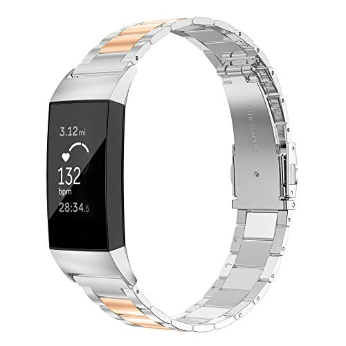 Wearlizer Stainless Steel Band Compatible for Fitbit Charge 3 Bands/Charge 3 SE Women Men,Ultra-Thin Lightweight Replacement Band Strap Wristbands Accessories for Fitbit Charge 3 (Copper+Silver)