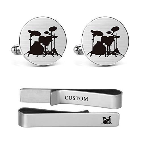 - MUEEU Drum Cufflinks Drum Set Drum Kit Drummer Mens Gifts Drum Player Musical Instrument Cufflinks (Round Drum Cufflinks & Tie Clip)