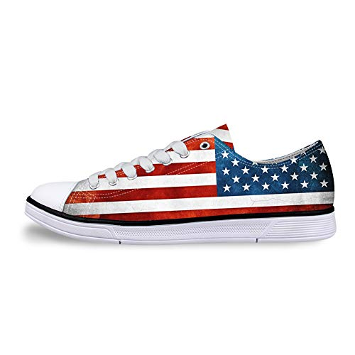 Casual Sneakers 3D Printed American Flag Pattern for Women Canvas Flat Shoes for Men.]()