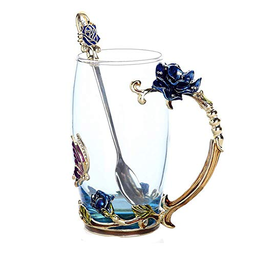 r Tea Glass Cups for Hot and Cold Drinks Tea Cup Spoon Set Perfect Wedding Gift (Rose Blue High, 11oz) ()