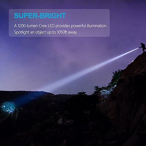 Linterna LED Alta Potencia Recargable Tactica Militar Linterna Resistente al Agua Ipx8 1200 LM CREE LED de Enfoque Ajustable Portátil,Carga...
