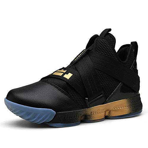 High Top Slip - SIX FOOTPRINTS Men's High-Top Basketball Shoes Fashion Casual Breathable Running Sports Shoes Shock-Absorbing Non-Slip Wear-Resistant Boots (11 M US Men, Black Gold)