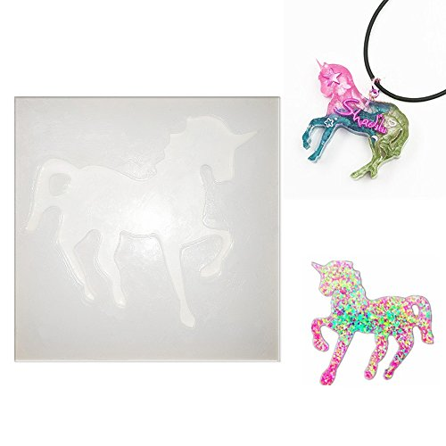 Unicorn-Shaped Silicone Jewelry Molds, Pendant Mold with Hanging Hole for Resin Epoxy,Earring Necklace Making and DIY Jewelry Craft Making,Semi-Transparent (Resin Mold Release)