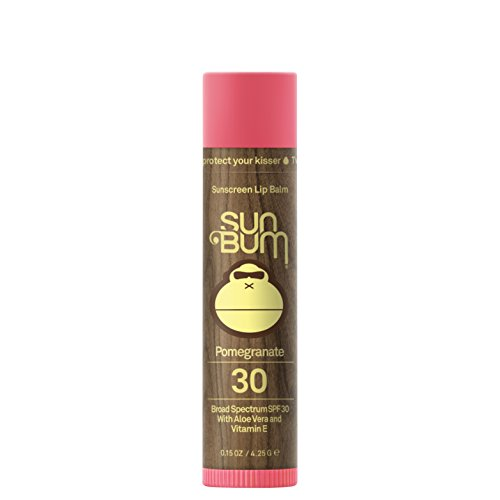Sun Bum Pomegranate Sunscreen Lip Balm, SPF 30, 0.15 oz Stick, 1 Count, Broad Spectrum UVA/UVB Protection, Hypoallergenic, Paraben Free, Gluten Free, (Pomegranate Lip Butter)