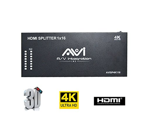 AVI 1x16 HDMI Splitter 4K V1.4 Certified HDMI Splitter with Full Ultra HD 4K/2K and 3D Resolutions Supported (1x16) by AVI