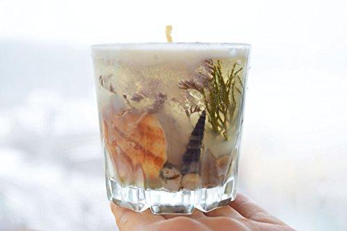 Candle Wedding Favors Gel - Beach wedding candle Favor Gel glycerin with seashells