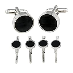 Men's Cuff Links and Studs Spring-Back Formal Set With Genuine Onyx by Cuff-Daddy