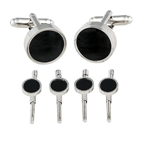 Cuff-Daddy Black Onyx Spring-back Cufflinks Studs Formal Set with Presentation Box ()
