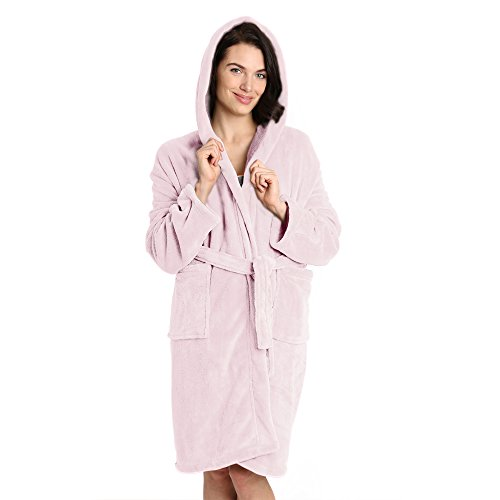 Pembrook Ladies Robe with Hood - Soft Fleece – Pink - Size L/XL – Spa Bathrobe Women Girls
