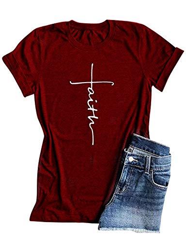 Qrupoad Women V Neck Faith T-Shirt Christian Shirt Graphic Tees for Religious Gift Burgundy
