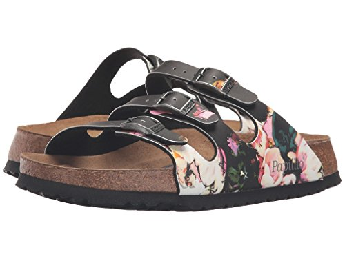 BIRKENSTOCK Damen Florida Sandalen Painted Bloom Schwarz Birko-Flor