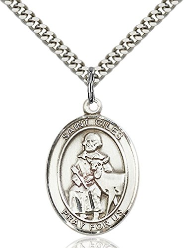 Sterling Silver Saint Giles Medal Pendant, 1 Inch Giles Medal