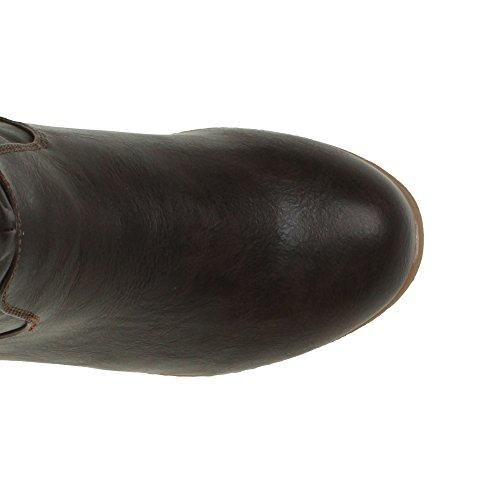 Ajvani - Botas de Material Sintético para mujer marrón