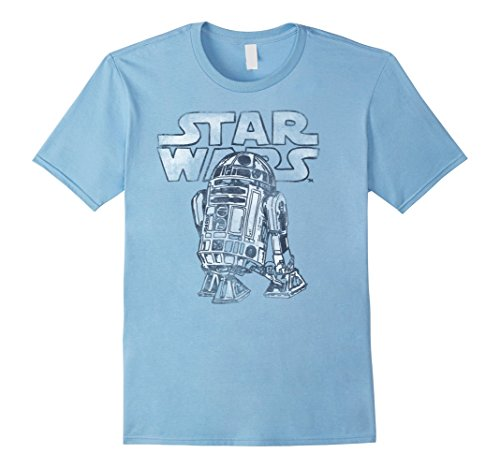 Mens Star Wars R2-D2 Vintage Style Graphic T-Shirt 2XL Baby Blue