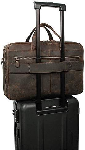 ブリーフケース メンズヴィンテージブリーフケース大規模ビジネストート17インチコンピュータのトートバッグに最適のビジネスピープル メンズブリーフケース (Color : Dark brown, Size : 45x14x30cm)