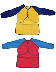 Jiaminye Pack of 2 Kids Art Smocks, Children Waterproof Artist Painting Aprons Long Sleeve with 3 Pockets for Age 2-6 Years