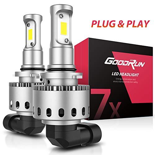 GoodRun 9006 LED Headlight Bulbs With 2pcs COB Lamp Beam Super 10000R/Min Cool Fan 30W 5500LM Replace Halogen Or Xeon HID 9006/HB4 Automotive Headlamp White Low Beam 7X Series (HLB-7X-9006)