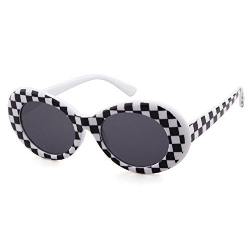 Bold Retro Oval Mod Thick Frame Sunglasses Clout Goggles with Round Lens -