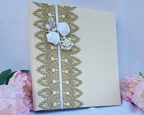 Towdah Perez Vintage Gold lace Flowers and brooches Ivory Leather Wedding Album. 3-Ring Binder Photo Album with refillable Pages. 4x6, 5x7, 8x10 Photos. Customizable and personalizable (10k Brooch)
