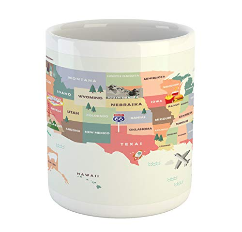 Lunarable Route 66 Mug, Map of The United States of America with Famous Attractions of The Country Print, Printed Ceramic Coffee Mug Water Tea Drinks Cup, Multicolor ()