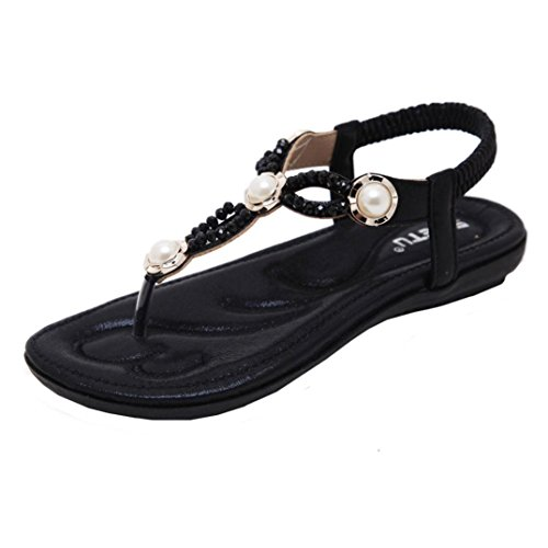 Momola Women's Flip-Flops Flat Shoes Bead Bohemia Lady Slipper Beach Sandals With Elastic Ankle Strap Pearl Crystal Peep-Toe Design Ladies Outdoor Shoes Black O7waq